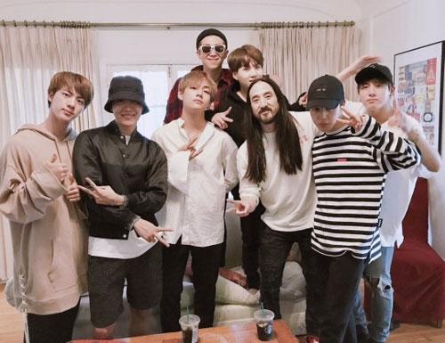 [사진]방탄소년단 SNS, 미국 DJ 스티브 아오키