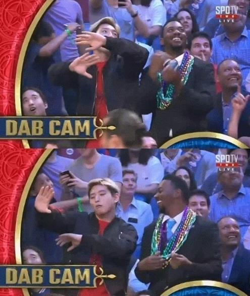 [사진]한세엠케이 제공, 작년 'NBA 올스타전' 생중계 카메라에 포착된 정진운