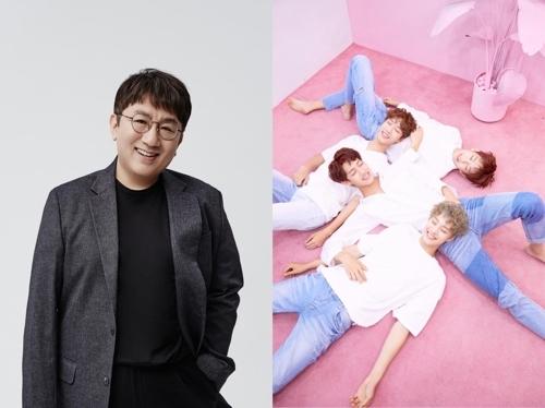 [사진]빅히트, 뮤직K 제공, 방시혁 프로듀서와 하이틴밴드 아이즈(오른쪽)