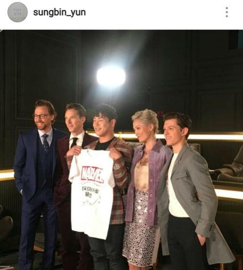 [사진]윤성빈 인스타그램 캡처, 어벤져스 출연 배우들과 기념 촬영하는 윤성빈