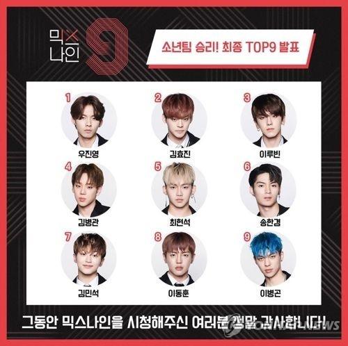 [사진]JTBC 오디션 프로그램 '믹스나인' 우승팀