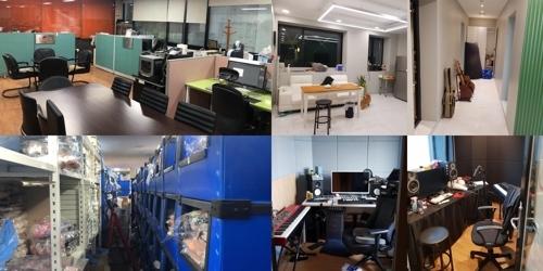 [사진]카카오엠 제공, 아이유 어머니 사무실 및 창고(왼쪽 위.아래)와 후배 뮤지션 작업실