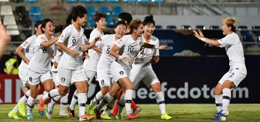 [사진]FC 홈페이지 캡처, 중국전 승리를 기뻐하는 한국 U-19 여자축구대표팀