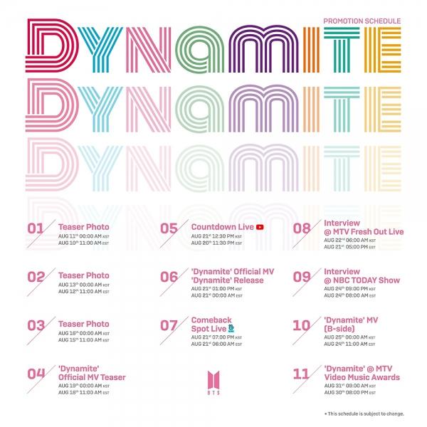 [사진]빅히트엔터테인먼트 제공, 방탄소년단 신곡 '다이너마이트' 프로모션 스케줄