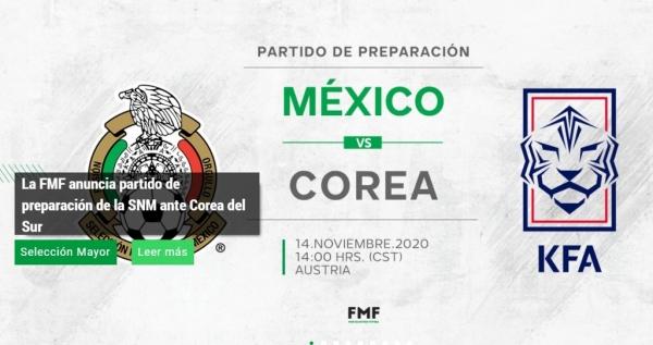[사진]멕시코축구협회 홈페이지 캡처, 멕시코 축구협회가 발표한 한국과의 평가전